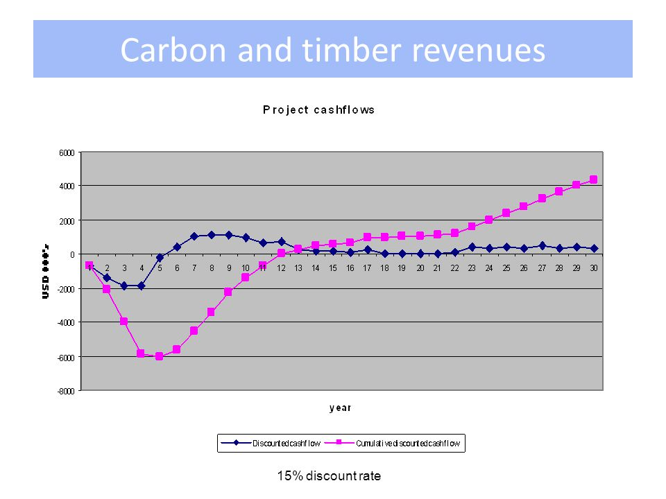 Carbon and timber revenues 15% discount rate