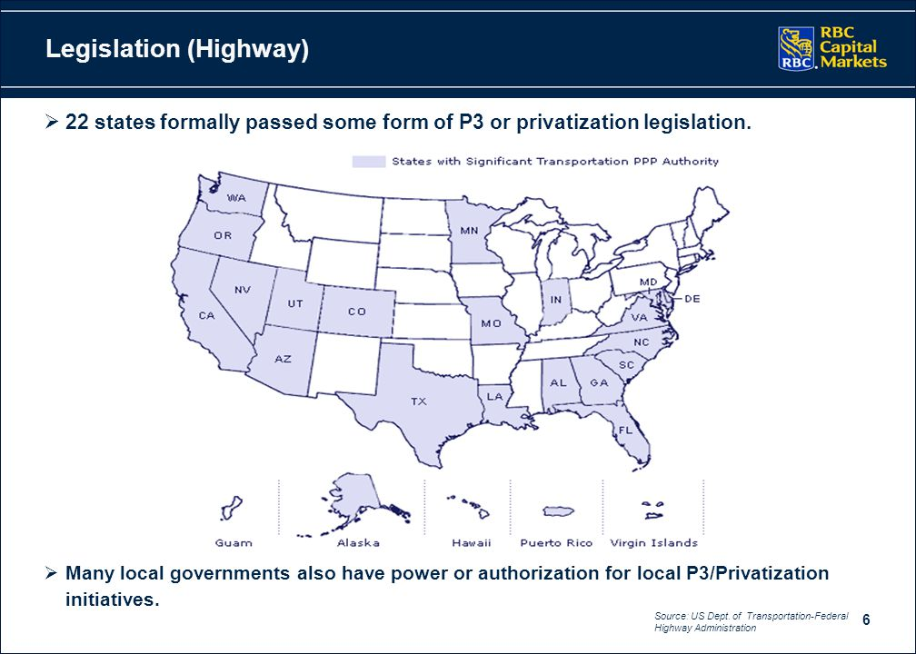6  22 states formally passed some form of P3 or privatization legislation.  Many local governments also have power or authorization for local P3/Pri
