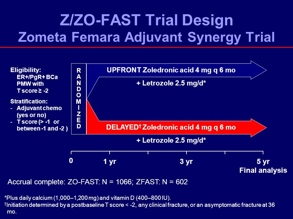 0 5 yr Final analysis RAN RRAANNDODOMMIIZZEEDDRRAANNDODOMMIIZZEEDDMIZED 3 yr1 yr Eligibility: ER+/PgR+ BCa PMW with T score ≥ -2 Stratification: -Adjuvant chemo (yes or no) -T score (> -1 or between -1 and -2 ) *Plus daily calcium (1,000–1,200 mg) and vitamin D (400–800 IU).