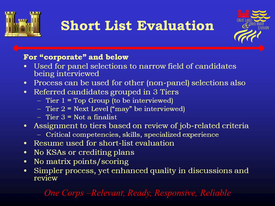 "One Corps –Relevant, Ready, Responsive, Reliable Short List Evaluation For ""corporate"" and below Used for panel selections to narrow field of candidat"