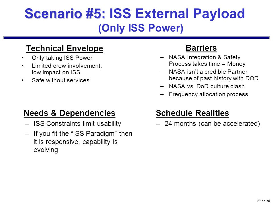 Slide 26 Scenario #5: Scenario #5: ISS External Payload (Only ISS Power) Technical Envelope Only taking ISS Power Limited crew involvement, low impact on ISS Safe without services Barriers –NASA Integration & Safety Process takes time = Money –NASA isn't a credible Partner because of past history with DOD –NASA vs.