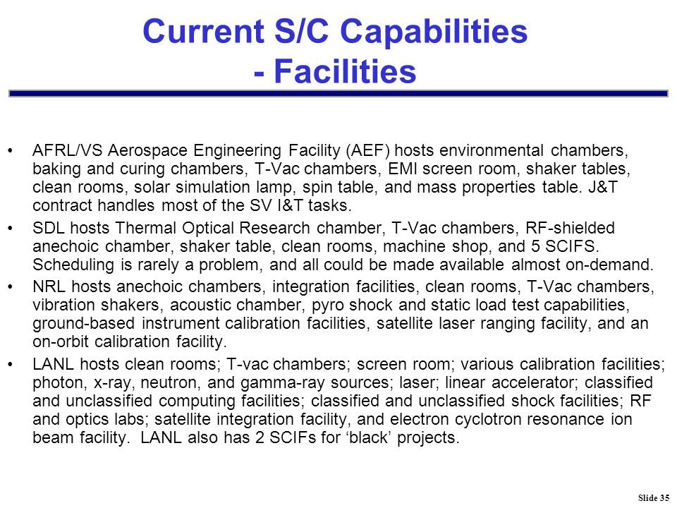 Slide 35 Current S/C Capabilities - Facilities AFRL/VS Aerospace Engineering Facility (AEF) hosts environmental chambers, baking and curing chambers, T-Vac chambers, EMI screen room, shaker tables, clean rooms, solar simulation lamp, spin table, and mass properties table.