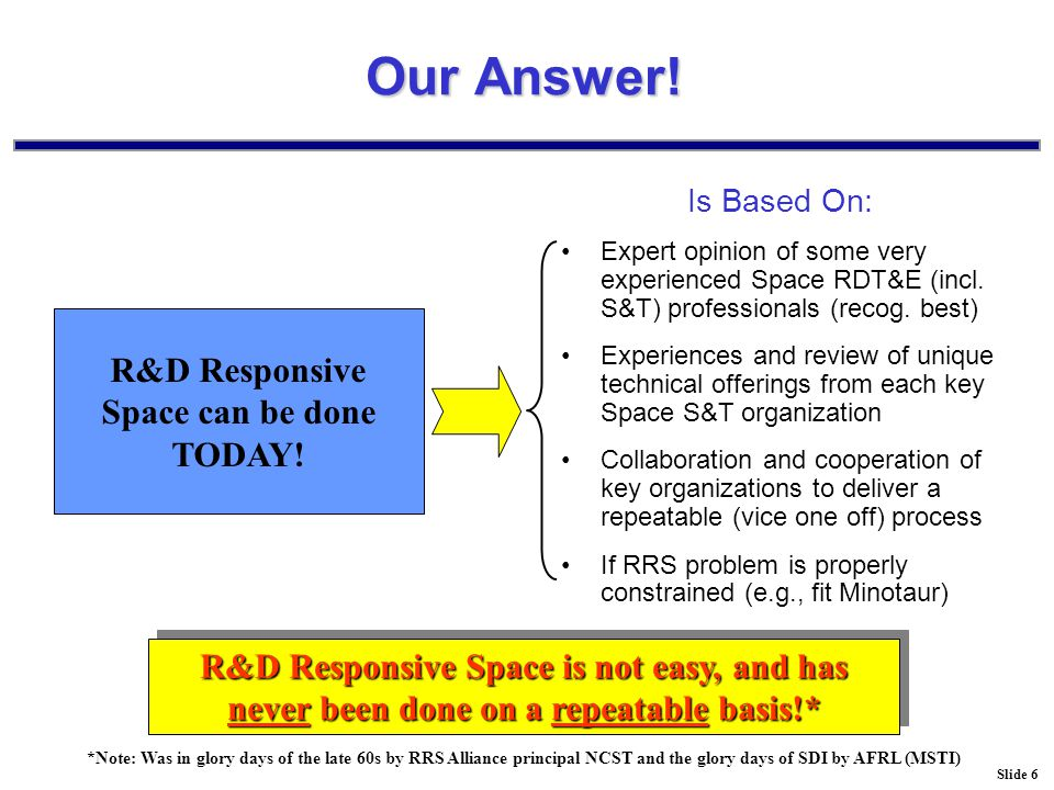 Slide 7 Basic Concept Flight Operations Spacecraft Development Launch Vehicles Enabling Expertise Mission Level Activities Procedural Management Fiscal Management Contract Management Technical Management Found- ation Capa- bilities Personnel Management Project Execution Project Design Space Mission Need What you want to do…..