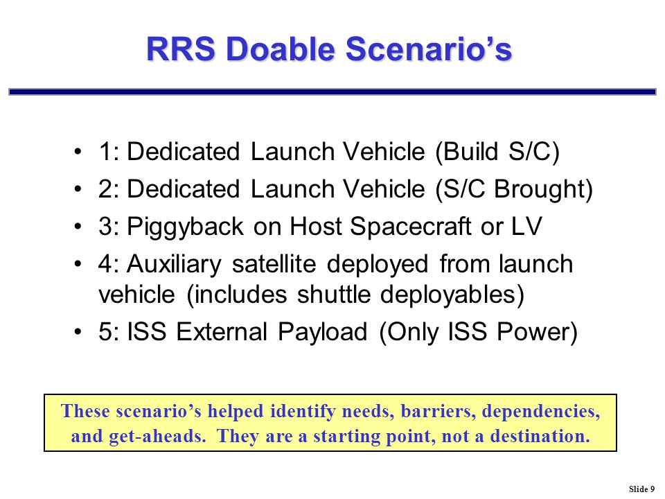 Slide 9 RRS Doable Scenario's 1: Dedicated Launch Vehicle (Build S/C) 2: Dedicated Launch Vehicle (S/C Brought) 3: Piggyback on Host Spacecraft or LV 4: Auxiliary satellite deployed from launch vehicle (includes shuttle deployables) 5: ISS External Payload (Only ISS Power) These scenario's helped identify needs, barriers, dependencies, and get-aheads.