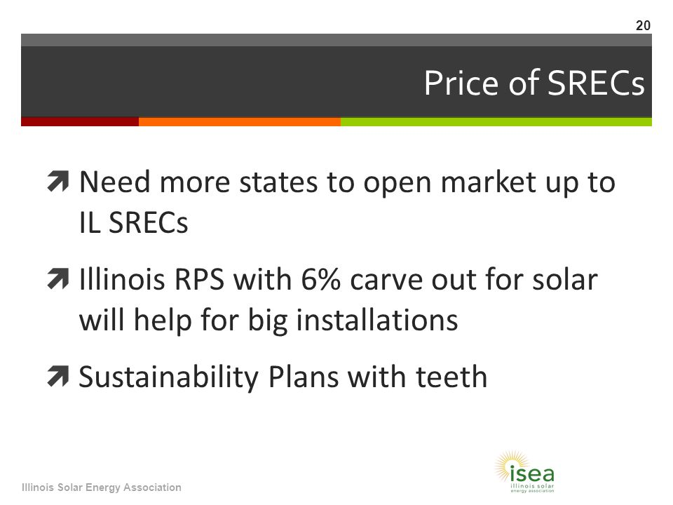 Price of SRECs  Need more states to open market up to IL SRECs  Illinois RPS with 6% carve out for solar will help for big installations  Sustainability Plans with teeth Illinois Solar Energy Association 20