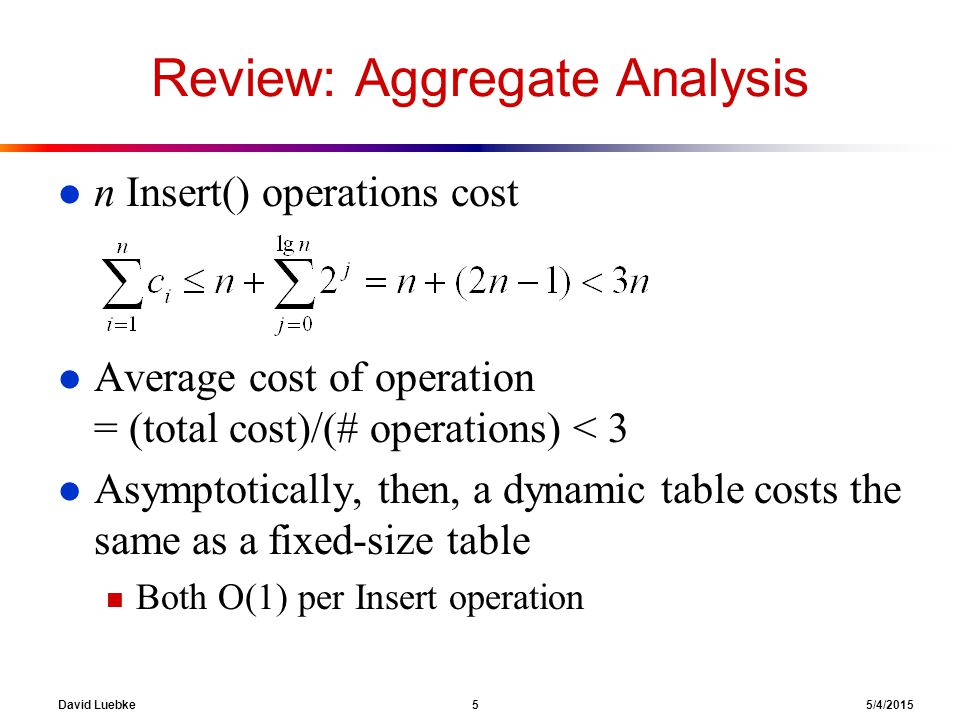David Luebke 5 5/4/2015 Review: Aggregate Analysis l n Insert() operations cost l Average cost of operation = (total cost)/(# operations) < 3 l Asympt