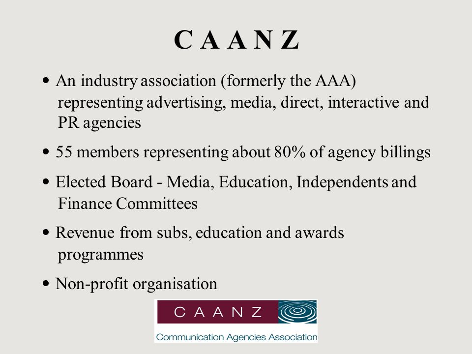 C A A N Z An industry association (formerly the AAA) representing advertising, media, direct, interactive and PR agencies 55 members representing about 80% of agency billings Elected Board - Media, Education, Independents and Finance Committees Revenue from subs, education and awards programmes Non-profit organisation