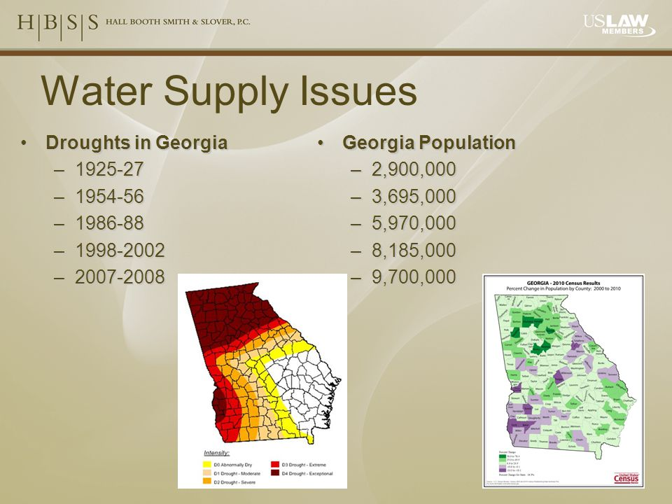Water Supply Issues Droughts in GeorgiaDroughts in Georgia –1925-27 –1954-56 –1986-88 –1998-2002 –2007-2008 Georgia PopulationGeorgia Population –2,900,000 –3,695,000 –5,970,000 –8,185,000 –9,700,000