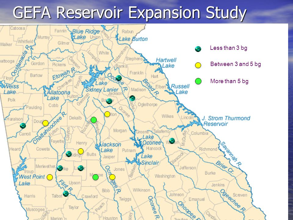 Legend = Water Supply Reservoir GEFA Reservoir Expansion Study Less than 3 bg Between 3 and 5 bg More than 5 bg