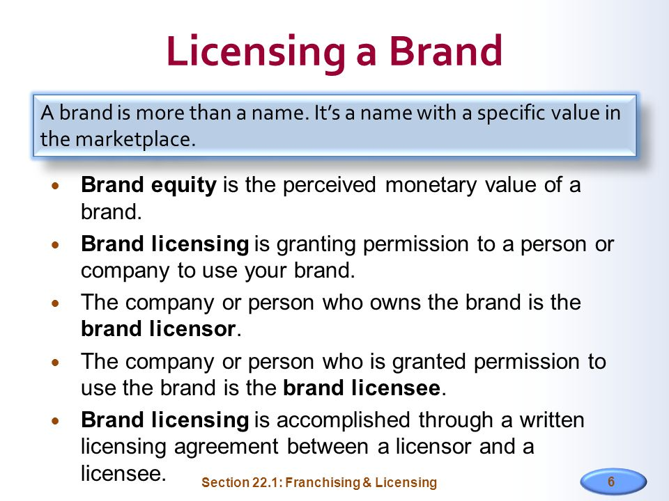 Licensing a Brand Brand equity is the perceived monetary value of a brand. Brand licensing is granting permission to a person or company to use your b