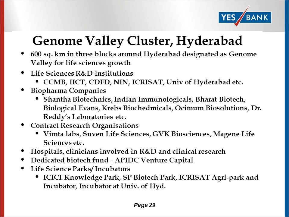 Page 28 Leading Life Science Clusters According to Minnesota Biomedical and Bioscience Network report on leading life science clusters as of 2004-05 there are – 12 Life Science Clusters in EU (Germany, France, Switzerland, Belgium, Sweden, Finland) – 11 in USA – 14 in Asia-Pacific (including Hyderabad,Bangalore and Uttranchal from India) – 4 in UK and Ireland – 3 in Australia – 3 in Canada – 2 in South America – 1 in Africa – 1 in Middle East