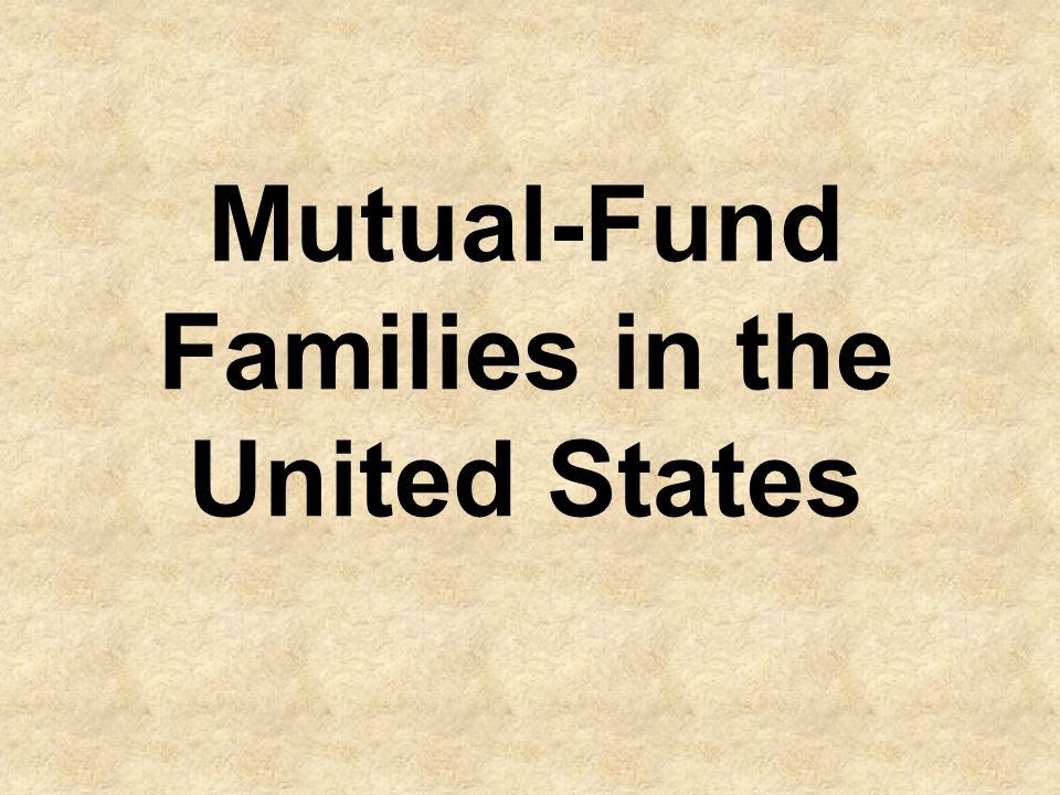 Mutual-Fund Families in the United States