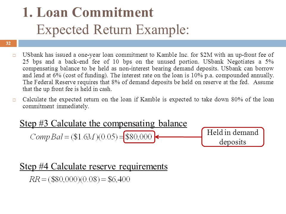33  USbank has issued a one-year loan commitment to Kamble Inc.