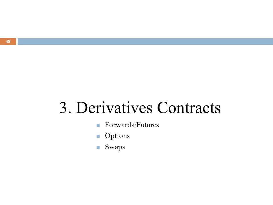 48 3. Derivatives Contracts Forwards/Futures Options Swaps