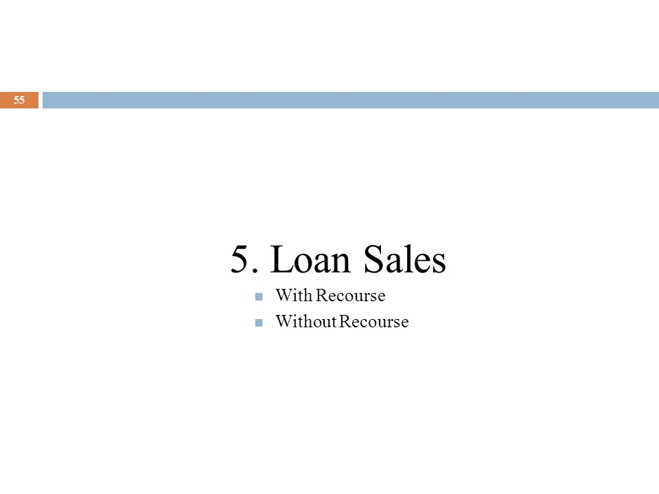55 5. Loan Sales With Recourse Without Recourse