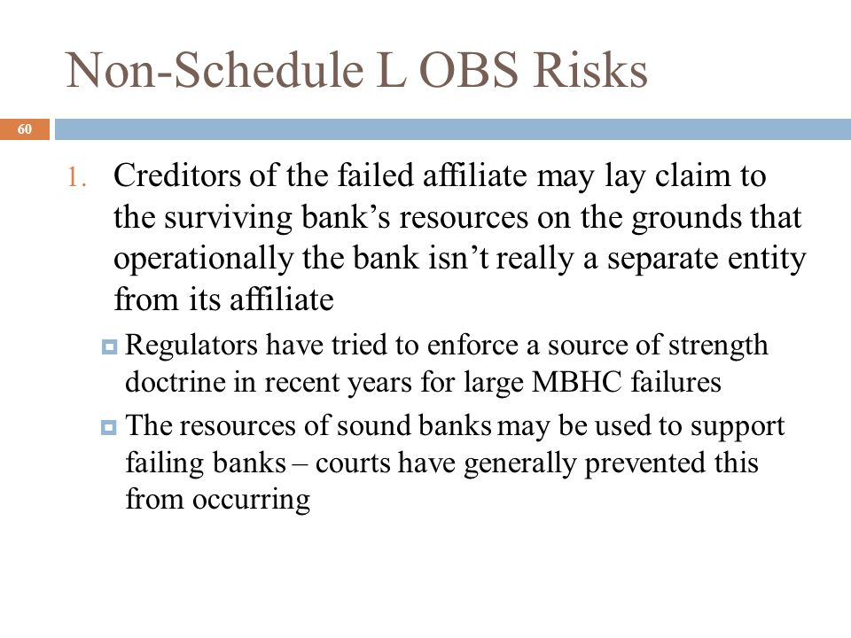 Lecture Summary 61  Off-balance Sheet Accounting  What it is  Why it is important  Growth in OBS activity  Item:  Loan Commitment – return  Letters of credit Commercial Standby  Derivatives contracts  When-Issued Securities  Loan Sales
