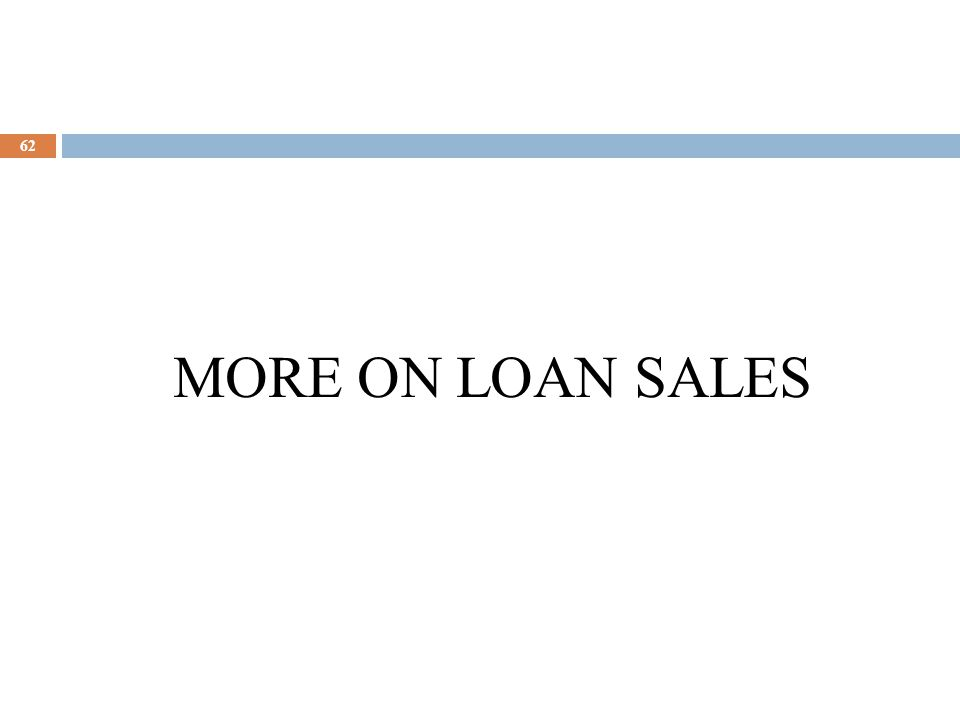 63 Types of Loan Sales Contracts  Participations  Limited control rights – syndicate members purchase a piece of the loan but the lead arranger maintains the loan rights.