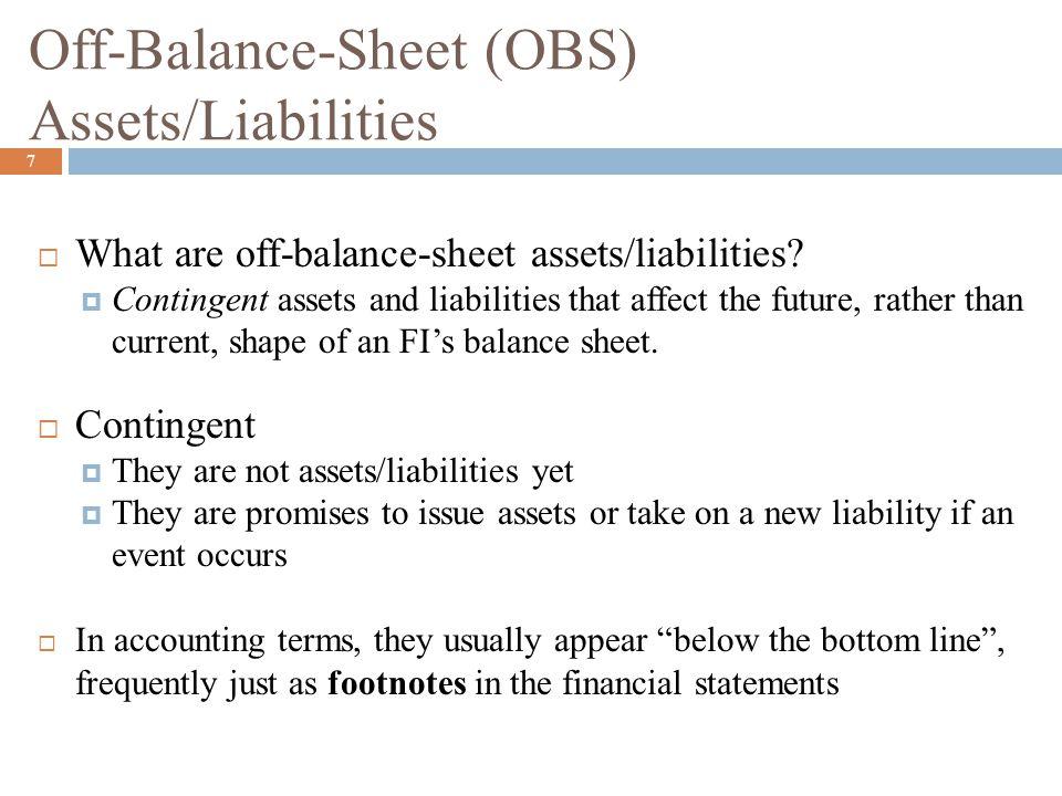 Off-Balance-Sheet (OBS) Assets/Liabilities (Continued) 8  OBS Asset:  A commitment to add an asset (Ex: loan) to the balance sheet if a contingent event occurs.