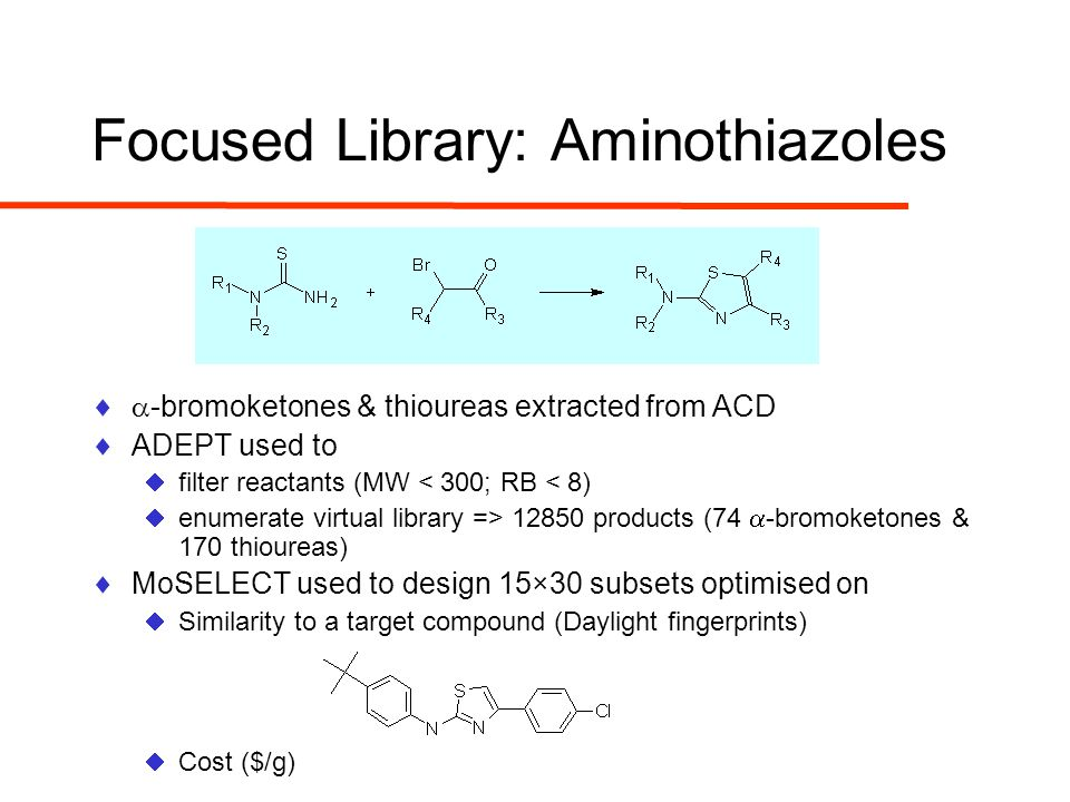 Focused Library: Aminothiazoles  -bromoketones & thioureas extracted from ACD  ADEPT used to  filter reactants (MW < 300; RB < 8)  enumerate virtual library => 12850 products (74  -bromoketones & 170 thioureas)  MoSELECT used to design 15×30 subsets optimised on  Similarity to a target compound (Daylight fingerprints)  Cost ($/g)