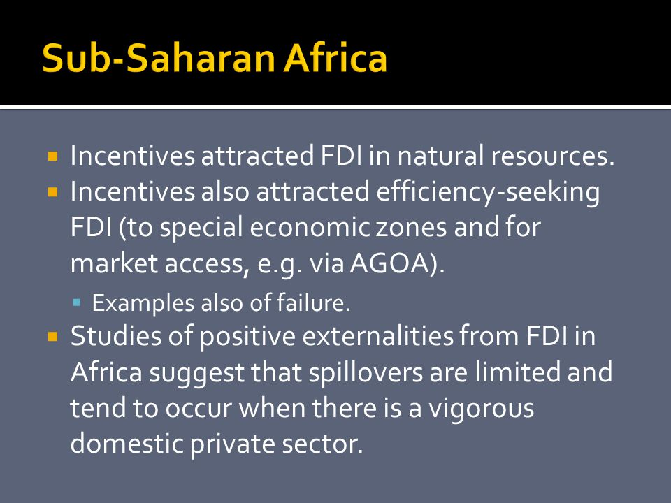  Incentives attracted FDI in natural resources.