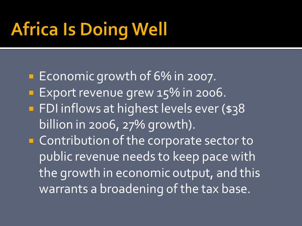  Economic growth of 6% in 2007.  Export revenue grew 15% in 2006.