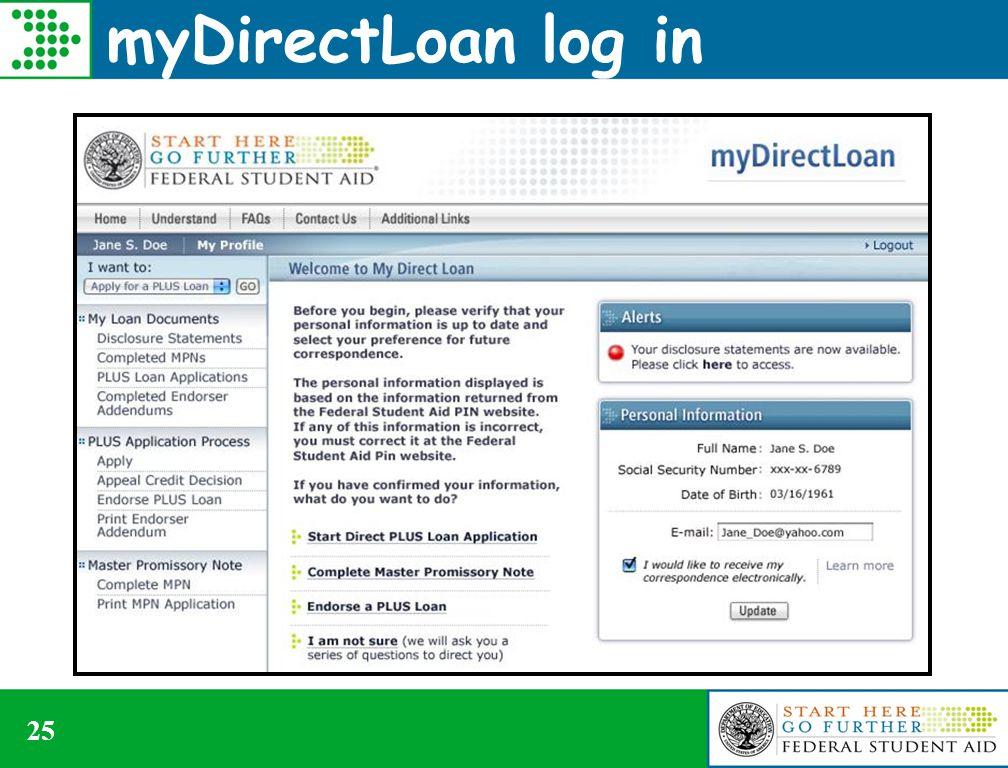 myDirectLoan log in 25