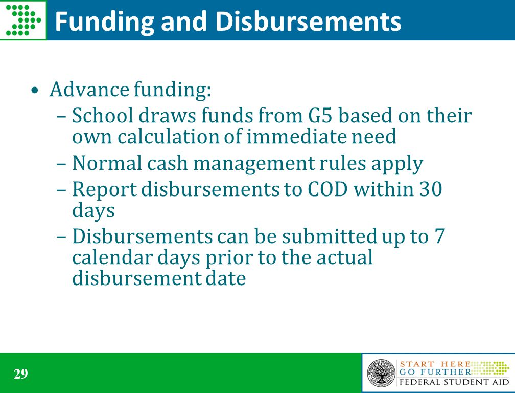 29 Funding and Disbursements Advance funding: –School draws funds from G5 based on their own calculation of immediate need –Normal cash management rules apply –Report disbursements to COD within 30 days –Disbursements can be submitted up to 7 calendar days prior to the actual disbursement date