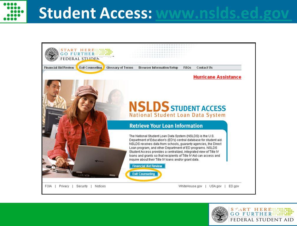 54 Student Access: www.nslds.ed.govwww.nslds.ed.gov