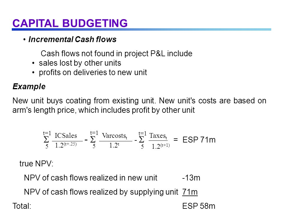 Incremental Cash flows Cash flows not found in project P&L include sales lost by other units profits on deliveries to new unit Example New unit buys coating from existing unit.