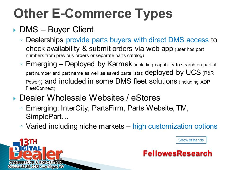 Other E-Commerce Types  DMS – Buyer Client ◦ Dealerships provide parts buyers with direct DMS access to check availability & submit orders via web app (user has part numbers from previous orders or separate parts catalog) ◦ Emerging – Deployed by Karmak (including capability to search on partial part number and part name as well as saved parts lists); deployed by UCS (R&R Power) ; and included in some DMS fleet solutions (including ADP FleetConnect)  Dealer Wholesale Websites / eStores ◦ Emerging: InterCity, PartsFirm, Parts Website, TM, SimplePart… ◦ Varied including niche markets – high customization options Show of hands