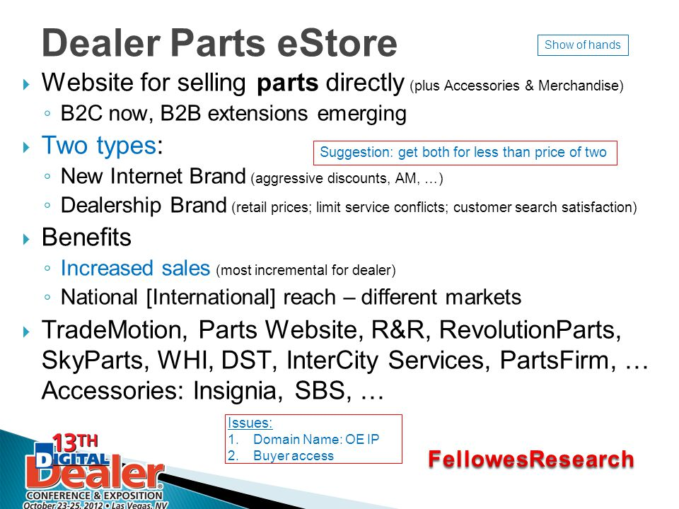 Dealer Parts eStore  Website for selling parts directly (plus Accessories & Merchandise) ◦ B2C now, B2B extensions emerging  Two types: ◦ New Internet Brand (aggressive discounts, AM, …) ◦ Dealership Brand (retail prices; limit service conflicts; customer search satisfaction)  Benefits ◦ Increased sales (most incremental for dealer) ◦ National [International] reach – different markets  TradeMotion, Parts Website, R&R, RevolutionParts, SkyParts, WHI, DST, InterCity Services, PartsFirm, … Accessories: Insignia, SBS, … Issues: 1.Domain Name: OE IP 2.Buyer access Suggestion: get both for less than price of two Show of hands
