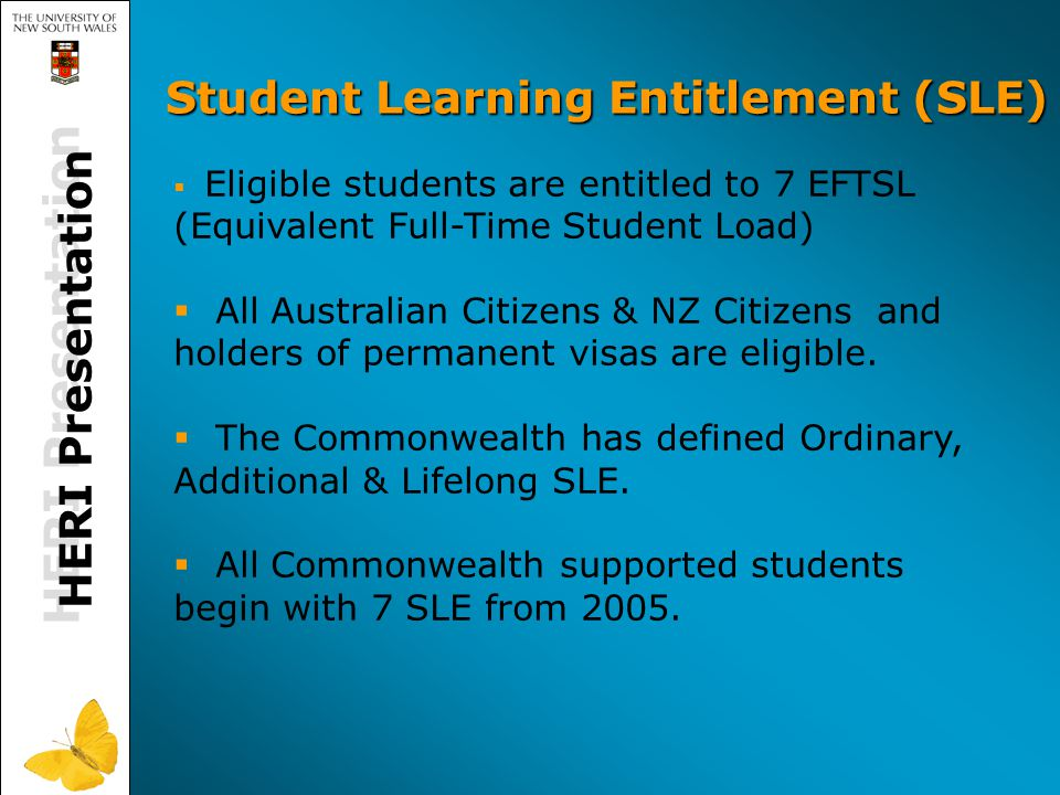 HERI Presentation Student Learning Entitlement (SLE)   Eligible students are entitled to 7 EFTSL (Equivalent Full-Time Student Load)   All Australian Citizens & NZ Citizens and holders of permanent visas are eligible.