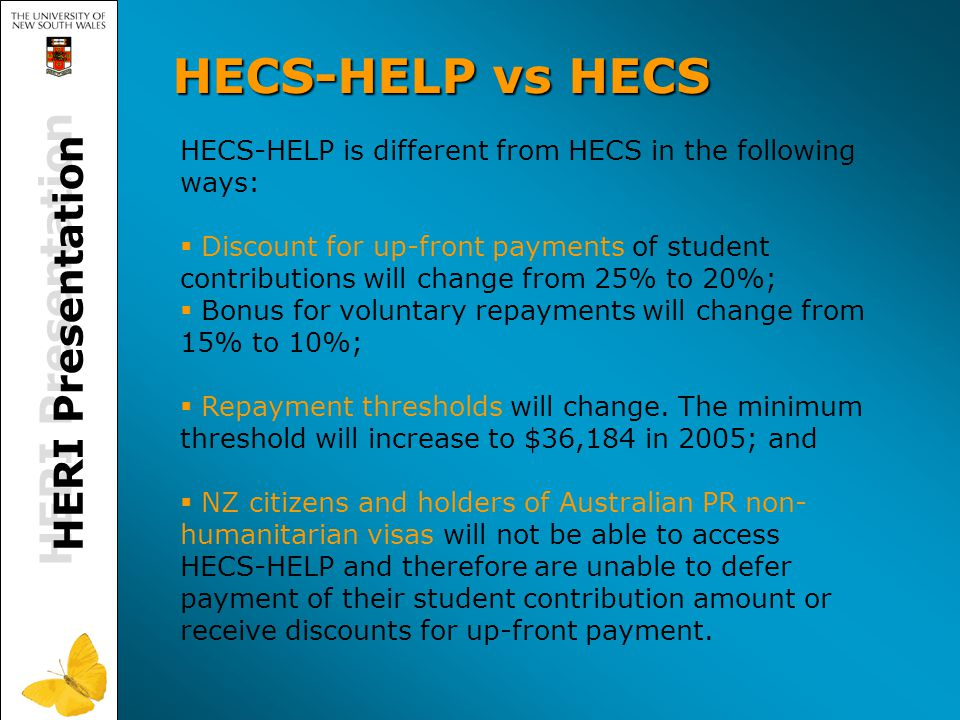 HERI Presentation HECS-HELP vs HECS HECS-HELP is different from HECS in the following ways:   Discount for up-front payments of student contributions will change from 25% to 20%;   Bonus for voluntary repayments will change from 15% to 10%;   Repayment thresholds will change.