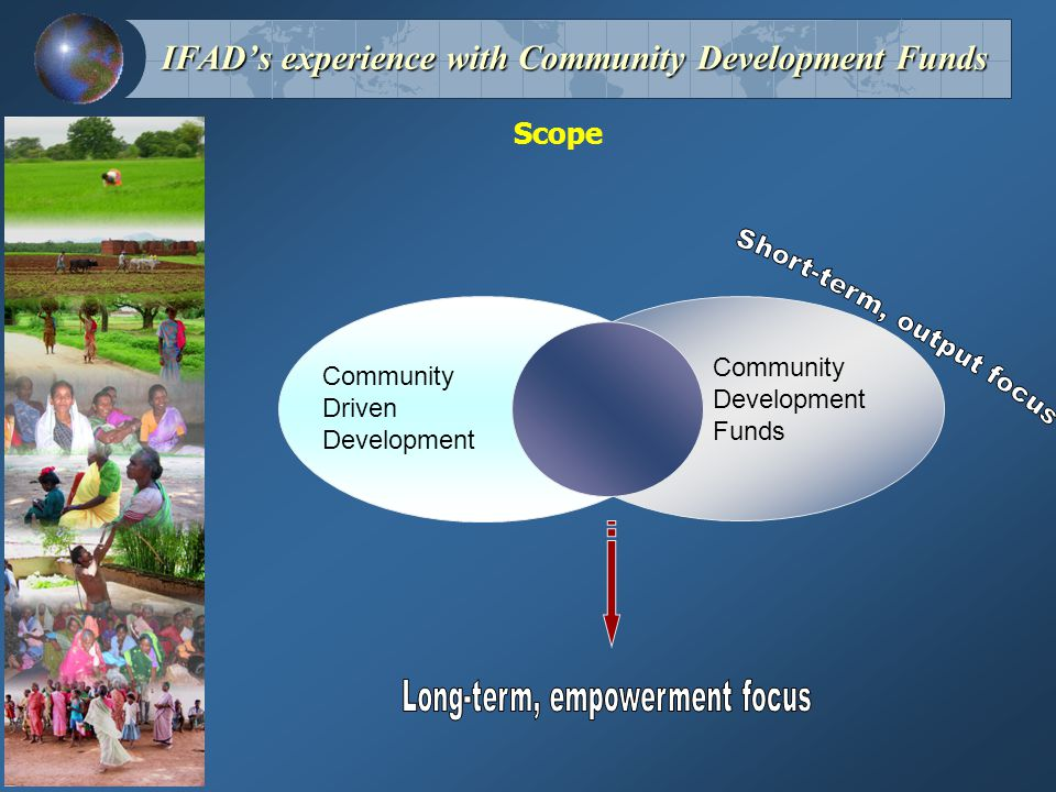 Scope Community Driven Development Community Development Funds IFAD's experience with Community Development Funds