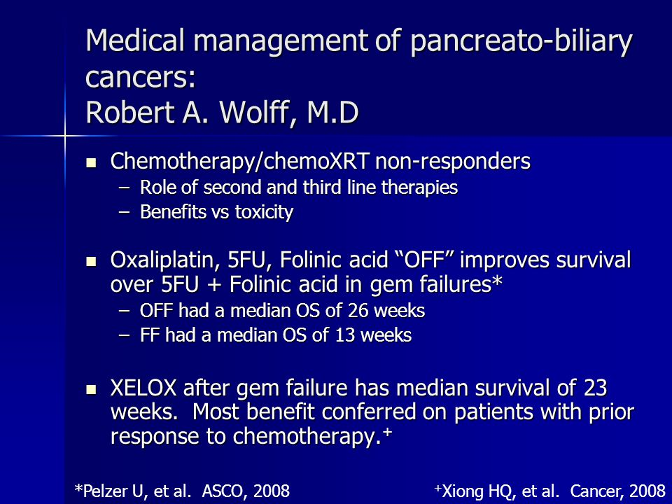 Medical management of pancreato-biliary cancers: Robert A. Wolff, M.D Chemotherapy/chemoXRT non-responders Chemotherapy/chemoXRT non-responders –Role