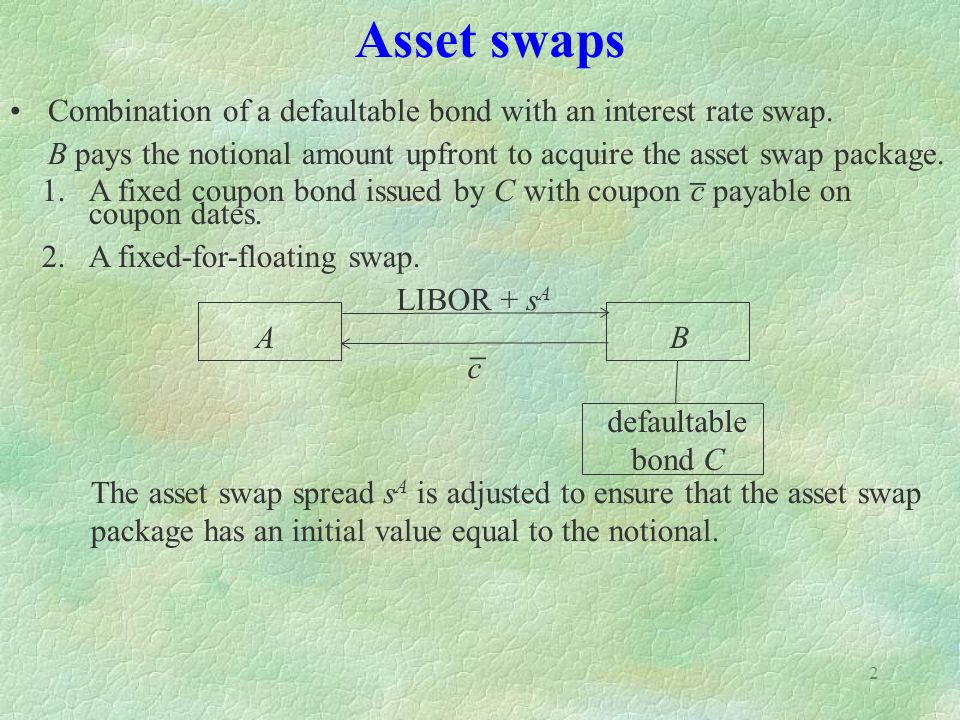 2 Asset swaps Combination of a defaultable bond with an interest rate swap. B pays the notional amount upfront to acquire the asset swap package. 1.A