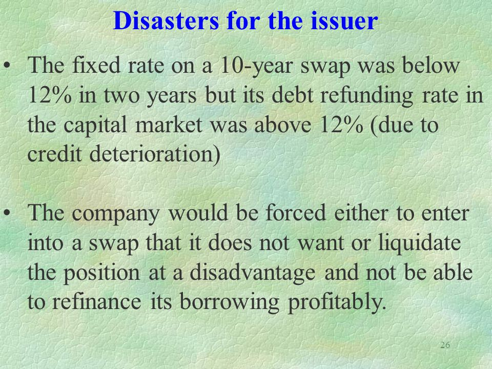 26 The fixed rate on a 10-year swap was below 12% in two years but its debt refunding rate in the capital market was above 12% (due to credit deterior