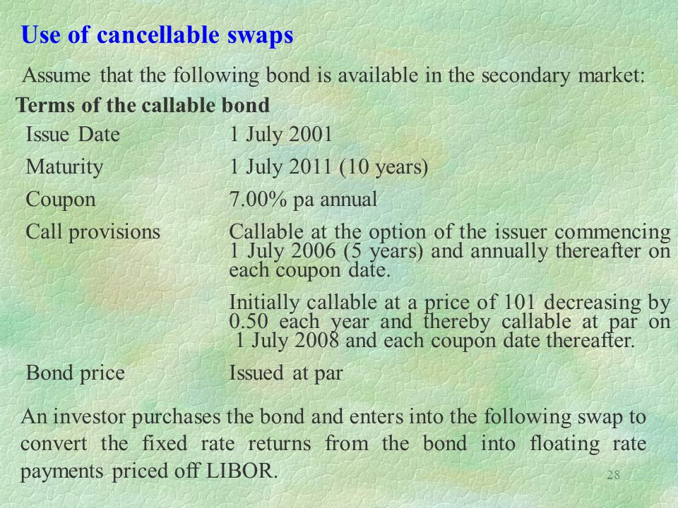 28 Use of cancellable swaps Assume that the following bond is available in the secondary market: Terms of the callable bond Issue Date1 July 2001 Matu