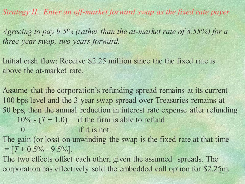 41 Strategy II. Enter an off-market forward swap as the fixed rate payer Agreeing to pay 9.5% (rather than the at-market rate of 8.55%) for a three-ye