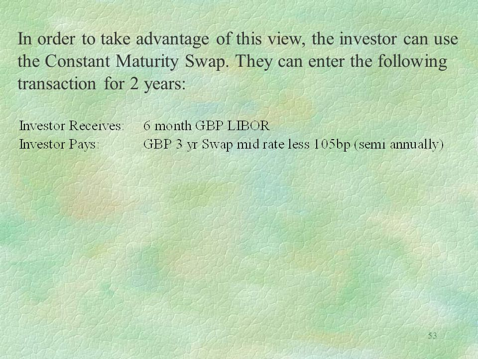 53 In order to take advantage of this view, the investor can use the Constant Maturity Swap. They can enter the following transaction for 2 years: