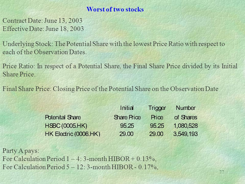 77 Worst of two stocks Contract Date: June 13, 2003 Effective Date: June 18, 2003 Underlying Stock: The Potential Share with the lowest Price Ratio wi