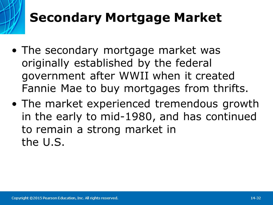Copyright ©2015 Pearson Education, Inc. All rights reserved.14-32 Secondary Mortgage Market The secondary mortgage market was originally established b
