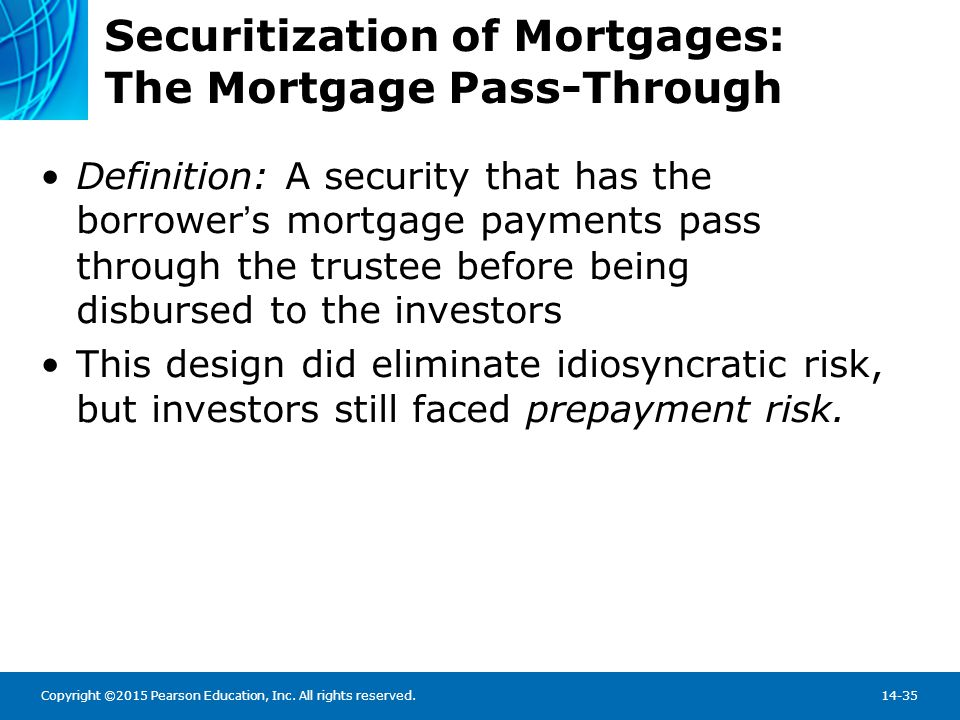 Copyright ©2015 Pearson Education, Inc. All rights reserved.14-35 Securitization of Mortgages: The Mortgage Pass-Through Definition: A security that h