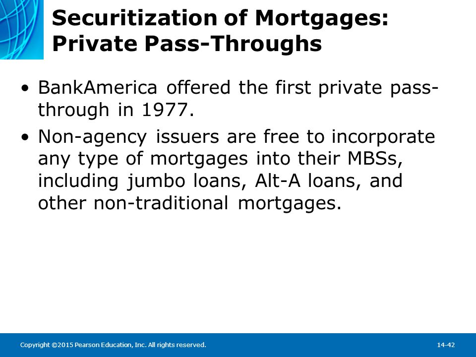 Copyright ©2015 Pearson Education, Inc. All rights reserved.14-42 Securitization of Mortgages: Private Pass-Throughs BankAmerica offered the first pri