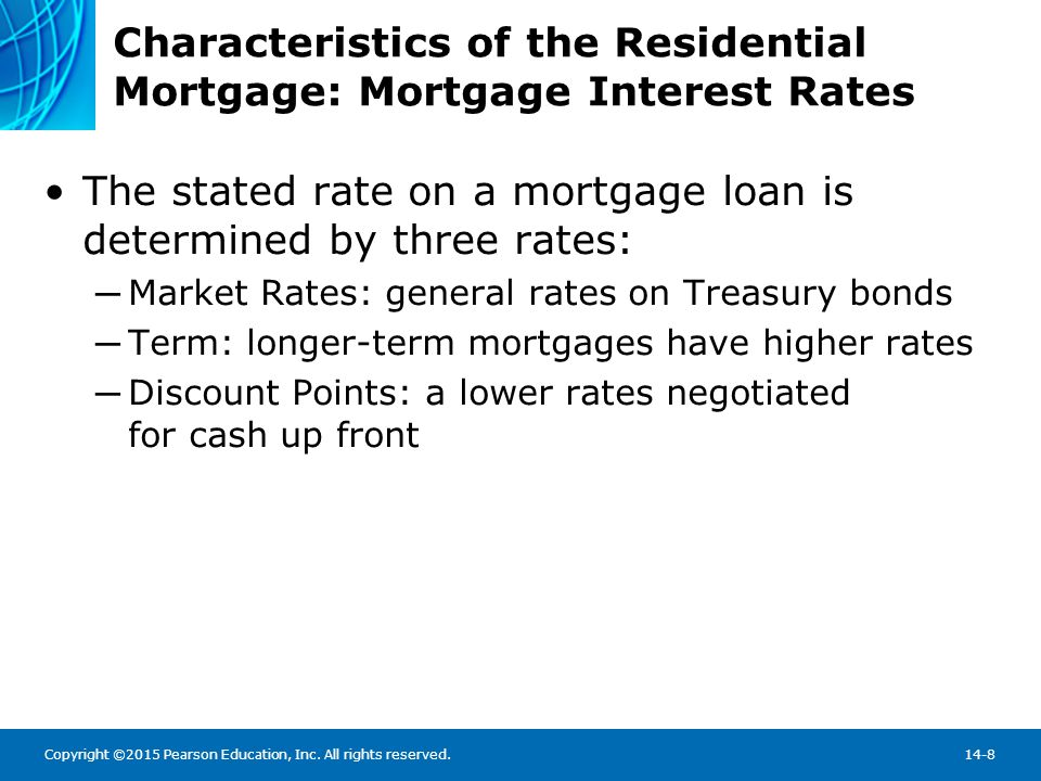 Copyright ©2015 Pearson Education, Inc. All rights reserved.14-8 Characteristics of the Residential Mortgage: Mortgage Interest Rates The stated rate