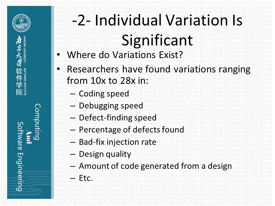 -2- Individual Variation Is Significant Where do Variations Exist.