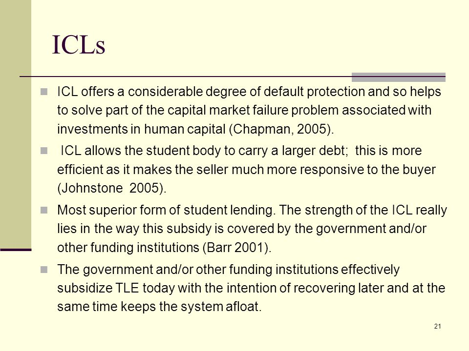 21 ICLs ICL offers a considerable degree of default protection and so helps to solve part of the capital market failure problem associated with invest
