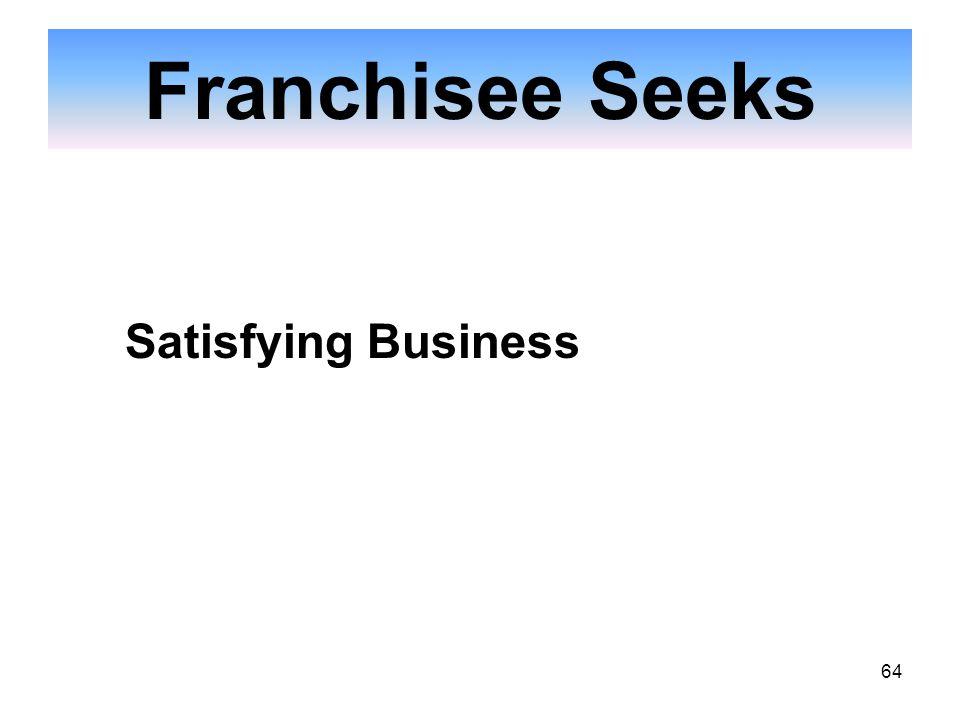 64 Franchisee Seeks Satisfying Business