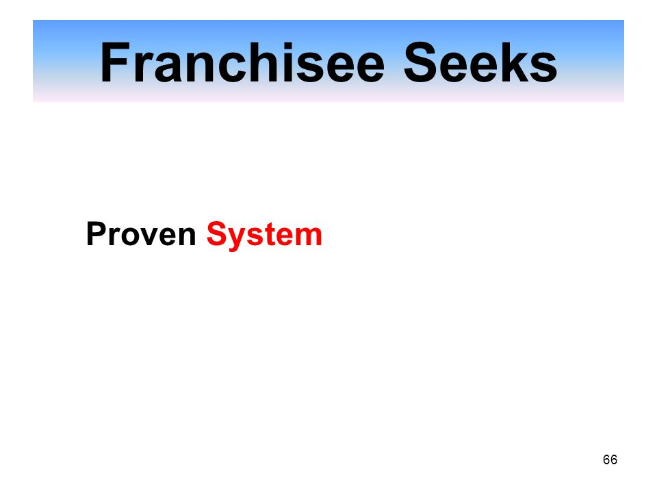 66 Franchisee Seeks Proven System