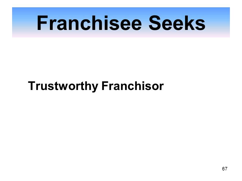 67 Franchisee Seeks Trustworthy Franchisor